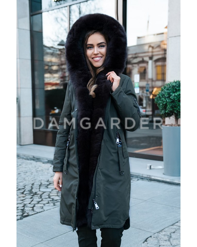 Пуховик с мехом песца хаки Furs collection