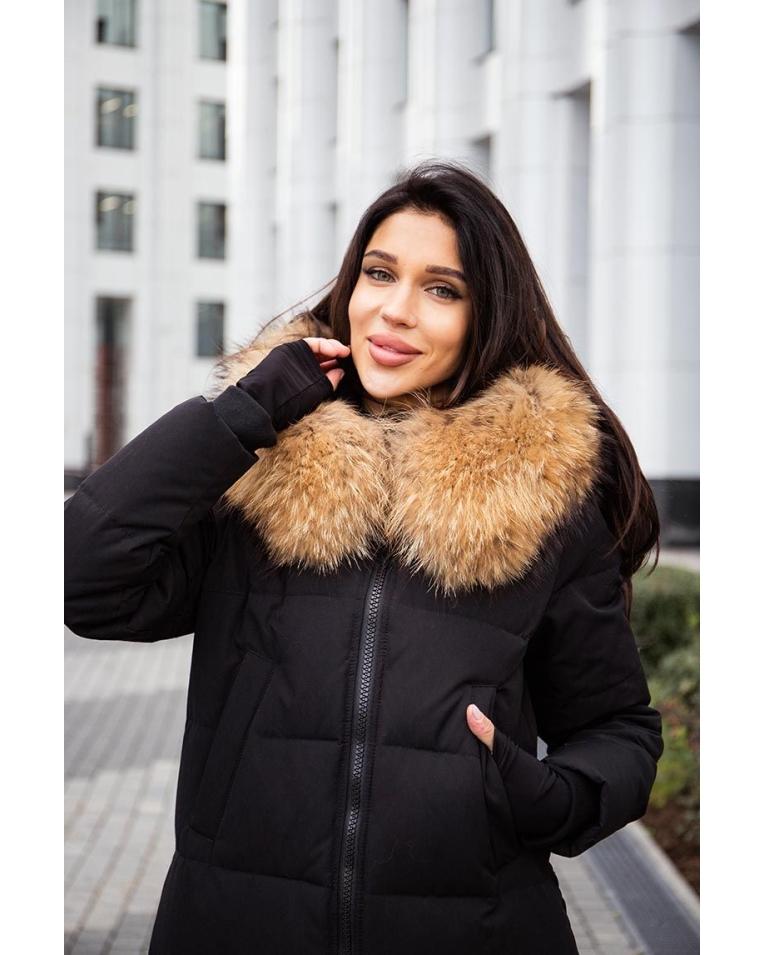 длинный черный пуховик женский